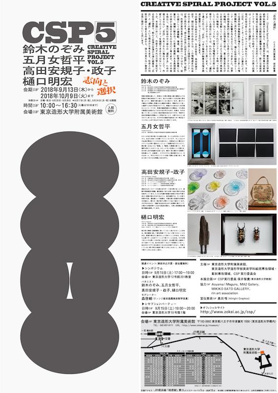 五月女 哲平 参加:CSP5 志向と選択 – Creative Spiral Project vol.5 -(東京造形大学附属美術館)