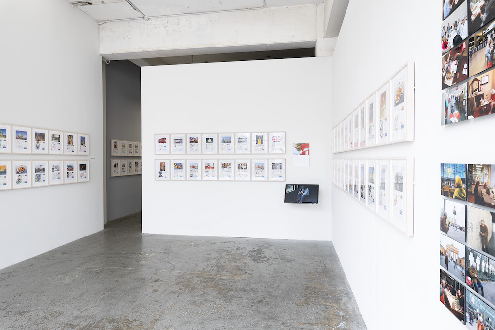 "Installation view, Tatsumi Orimoto ""Postcard Drawings and Postcards as Documents"""